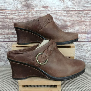 Ariat Heel Mules Distressed Brown Leather 9B